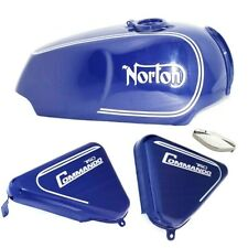 Fuel Petrol Gas Tank With Side Panel Blue Painted Norton Commando Roadster 750