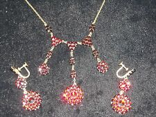 422 14k yellow gold plated vintage necklace earring garnet set 15 TCW 16 inches