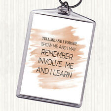 Watercolour I Learn Quote Bag Tag Keychain Keyring