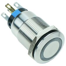 WHITE LED VANDAL resistente illuminato 19mm aggancio INTERRUTTORE 12V