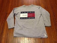 Men's VTG 90's Tommy Hilfiger Big Logo Spell Out Grey Long Sleeve T-Shirt sz M