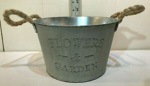"""New Flowers & Garden 8"""" Shabby Chic Succulent Plant Display Pot Tin Vintage Look"""