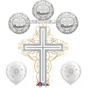Baptism SIlver Foil / Mylar and Latex Balloons Valued Pack ( 6 Balloons )