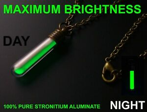 BRIGHTEST GREEN Glow In The Dark Necklace Money Can Buy Pure Strontium Aluminate