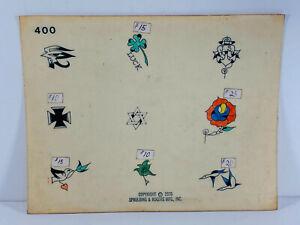 Vintage Original 1970's tattoo Shop Flash 22 Sailor Cross Spaulding Rogers Birds