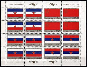 3013 YUGOSLAVIA 1980 REPUBLIC DAY FLAGS Mini Sheets (2) **MNH