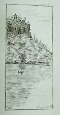 Antique Calling Card Name one Side Watercolor on Other Dated Aug 31st 81 Rogers