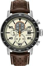 Citizen Brycen Men's Eco Drive Ivory Dial Brown Leather Strap Watch CA0649-06X