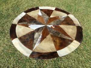 BIG  Star Cowhide Rug Cow Hide Skin Carpet Leather Round patchwork S97 area 40""