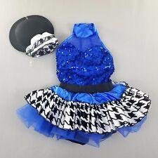 Weissman Girls IC Dress and Hat Houndstooth Blue Sequin Dance Intermediate kg1
