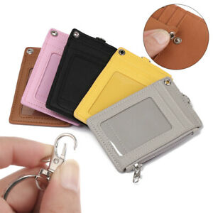 PU Leather Business Office Work ID Card Holder Wallet Coin Purse Keychain