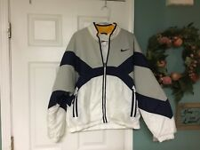 Vintage Women's NIKE Navy & White Quilted Lined Coat Jacket Size Large 12-14