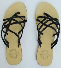 Urban Outfitters ECOTE Black Leather Braid Slip On Slides T-Strap Sandals Size 6