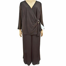 New Onyx Nite Woman Chocolate Brown 2pc Crepe Knit Cascade Pant Set Size 20W