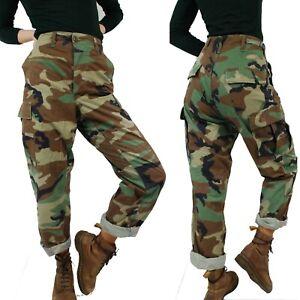 VINTAGE 90s Camo Trousers Khaki Green Cargo Combat Trousers/Camo Pants All Sizes