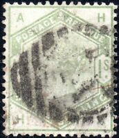 1883 Sg 196 1s dull green 'HA' with Duplex Cancellation Good Used