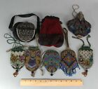 8 Antique 1930s Art Deco Flapper Girl Floral Beaded Purse Bag Pocketbook