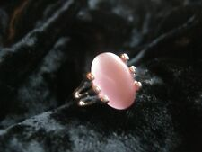 Beautiful Ornate Baby Pink Silver Plated CATS EYE Stone Ring Size 6.5 Healing