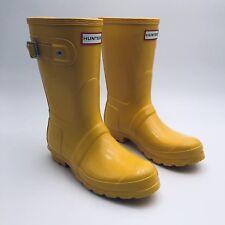 Hunter Original Short Handcrafted Yellow Gloss Rain Boots Womens Size 6