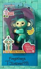Zoe - Fingerlings Teal Turquoise Baby Monkey New Interactive Toy In Hand