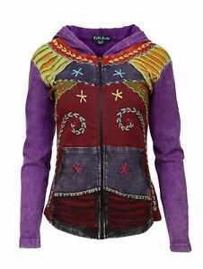 Tattopani Multicolored Stone Washed Cotton Cardigan Attach Hood With Razor Cut
