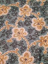 "Lace Print Cotton Fabric Remnant Piece Lt Teal Black Mustard Gold 35"" x 2.9 Yds"