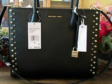 MICHAEL KORS STUDIO LEATHER BLACK STUD MERCER LG CONVERTIBLE TOTE PURSE $358