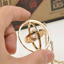 Harry Potter Hermione Granger Rotating Time Turner Necklace Gold Hourglass New