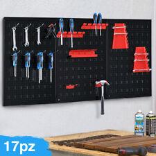 Pannello da Parete 17pz Portautensili Porta Attrezzi in Metallo Officina Garage
