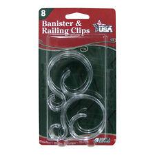Pack of 8 Banister & Railing Clips – Christmas Garland Lights Bird Feeder Hook