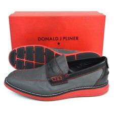 $198 NIB Mens DONALD J PLINER Ellard Pewter King Penny Loafers Shoes 8 1/2 D
