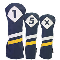 Majek Retro Golf 1 5 X Driver & Woods Headcover Blue White Yellow Leather Style