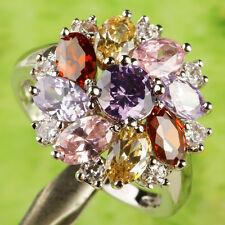 Oval &Round Cut Amethyst Garnet Pink Topaz Morganite Gemstone Silver Ring Size 9