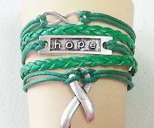 GREEN HOPE CANCER RIBBON LEATHER BRACELET-ADJUSTABLE-CEREBRAL PALSY-#41