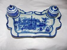Vintage Ceramic Blue with scenery Inkwell Desk Set