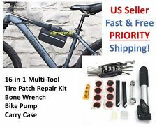 16 IN 1 Pump Multi-use Bicycle Cycling Bike Tire Tyre Repair Patch Tools Kit Bag