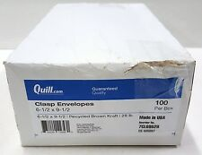 "Quill Clasp Envelopes Brown Kraft 6-1/2""x9-1/2"" 28lb 100ct Usa made Open Box"