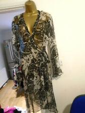 JULIEN MACDONALD 100% SILK COVER UP ROBE 16 18 WRAP DRESSING GOWN dress beach