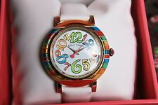 ♡ NIB Betsey Johnson RAINBOW Whimsical Numbers White Leather Strap WATCH $95