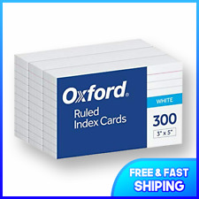 Oxford Ruled Index Cards 3 X 5 White 300 Pack 10022 Free Shiping