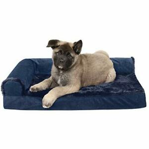 Furhaven Pet Dog Bed - Deluxe Memory Foam Plush Faux Fur and Velvet L Shaped ...