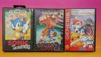 Sonic The Hedgehog 1, 2, + Spinball - Sega Genesis Game Tested Works Games Lot