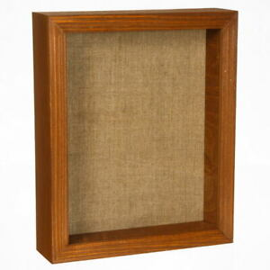 Shadow Box Picture Frame - Wood Display Case with Linen Back for Memorabilia etc