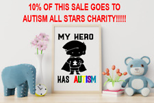 A4 my hero has autism print love family autistic bedroom home decor Charity