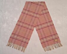 VINTAGE PLAIDS&CHECKS PINK GRAY CASHMERE BLEND LONG MEN'S FRINGE SCARF