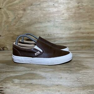 Vans Leather Slip On Shoes Womens Size 9 Brown White Sneakers Off The Wall