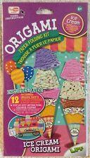 3-D Origami 12 Ice Cream Cone Dessert Paper Folding Craft Kit Patterns w Mat NIB