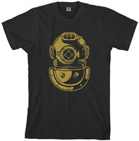 Threadrock Men's Deep Sea Diver Helmet T-Shirt Navy Gift