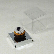 25 counts x 7.5cm(3 inches) Clear Mini Cupcake Boxes with silver insert
