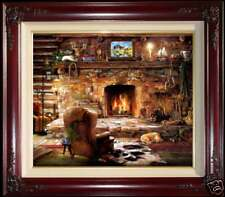 """Marty Bell The Sportsman's Lodge 20"""" x 24"""" S/N Framed Canvas Kinkade Inspired"""